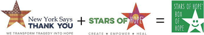 New York Says Thank You plus Stars of Hope Equals Stars of Hope Box of Hope